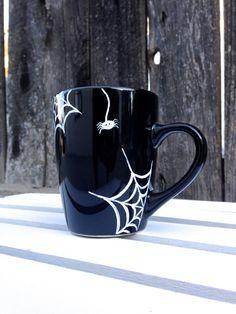 Spider Web Halloween Mug Hand Painted Black by STITCHandCABOODLE, $14.00