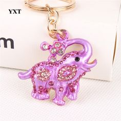 Elephant Flower Creative Cute Crystal Charm Purse Handbag Car Key Keyring Keychain Party Handmade Birthday Gift Accessories(China (Mainland))