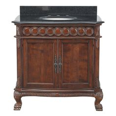 Belle Foret Jordheim 37 In. Vanity In Antique Cherry With Granite Vanity  Top In Black