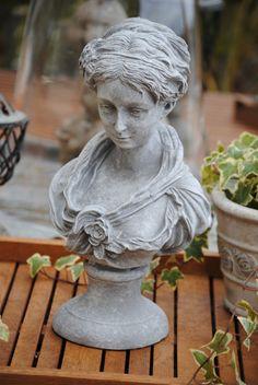 Schöne Dame Büste Frau Figur Skulptur  Shabby-Style Stein Grau TOP 2 Garten Deko