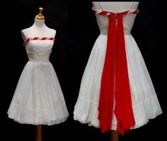 Vintage White & Red Strap Sheer Dress. $115.00, via Etsy.
