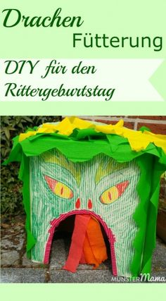 DIY Drache für Rittergeburtstag. Eine Drachenfütterung gehört zu jedem Kindergeburtstag mit Ritter und Drachen