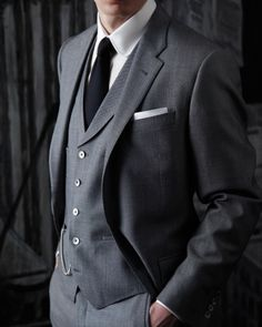 A classic three-piece gray suit