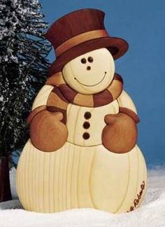 Intarsia Snowman Woodworking Plan