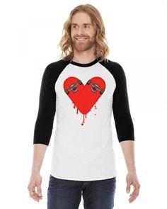 Broken Bleeding Skateboard Heart 3/4 Sleeve Shirt
