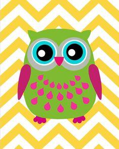Modern Chevron Owl Silhouette Print - 8x10 Chevron Zig Zag - Kids Wall Art for…