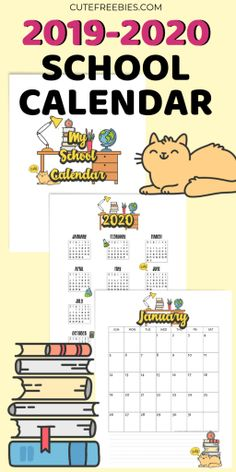 School Calendar Printable For 2020 - 2021 - Cute Freebies For You Monthly Planner Template, Calendar 2019 Printable, Cute Calendar, Daily Calendar, School Calendar, School Planner, Student Planner, Print Calendar, Teacher Planner