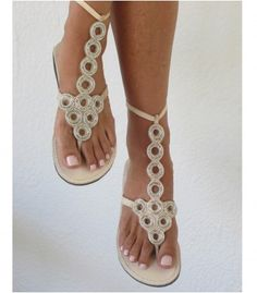 Stunning Gladiator style sandals with leather straps and silver beading.