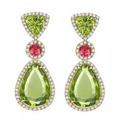 Peridot and Pink Tourmaline Earrings with pave Diamond drops.