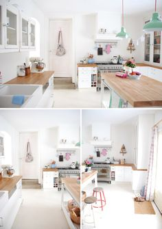 Truly Pretty Pastel Kitchen white kitchen with wooden worktops - oh funny i have this ripped out of a magazine!white kitchen with wooden worktops - oh funny i have this ripped out of a magazine! Kitchen Interior, New Kitchen, Kitchen White, Timber Kitchen, Cosy Kitchen, Happy Kitchen, Family Kitchen, Wooden Kitchen, Kitchen Islands