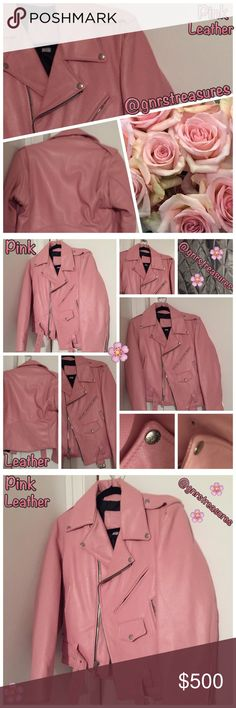 ✨PINK LEATHER ✨MOTORCYCLE JACKET✨NWOT✨ Great lined leather motorcycle jacket. Size 36. Made by Branded Leather. PINK LEATHER! Silver buckles, zippers and snaps. One of the lapel snaps pulled away from the leather. I'm sure it can be fixed. Picture shows the snap issue. Belt included. Light Pink! Branded  Jackets & Coats