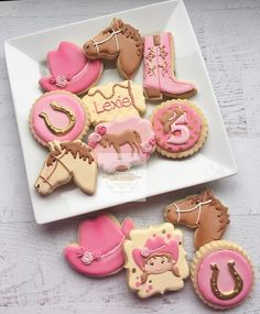 Pretty in Pink Cowgirl cookies for Lexie Cowgirl Birthday Cakes, Horse Theme Birthday Party, Cow Birthday, 5th Birthday Party Ideas, Horse Party, Barbie Birthday, Birthday Cookies, Cowgirl Cookies, Horse Cookies