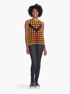 'Bold Digital Retro Metallic Square Tile Geometric Posh Print' Sleeveless Top by Pamela Arsena Yellow Leggings, Yellow Pants, Yellow Shirts, Orange Scarf, Orange Red, Blouses For Women, Women's Blouses, Orange Swimsuit, Pretty Shirts