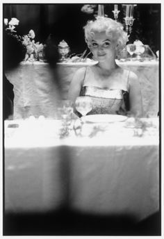 """ … as if whoever it was held that camera was her closest friend. Or maybe it was the camera that was her closest friend.""  - Blonde, by Joyce Carol Oates.    {Marilyn Monroe at the Friars Club dinner, photographed by Ed Feingersh, March 11, 1955}"
