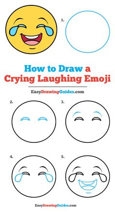 Learn to draw a crying laughing emoji. This step-by-step tutorial makes it easy. Kids and beginners alike can now draw a great looking crying laughing emoji. Cute Easy Drawings, Cool Art Drawings, Pencil Art Drawings, Drawing Lessons For Kids, Drawing Tutorials For Kids, Art Tutorials, Easy Drawing Steps, Step By Step Drawing