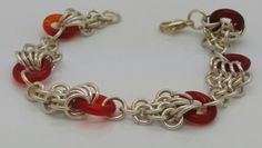 Carnelian ring chain maille by Janet Woods-Lennon.