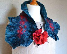 Handmade Nuno Felted Wool Silk Scarf Neck warmer with Flower Brooch ART TO WEAR victorian style, steampunk, lagenlook cowl collar scarf and flower dorsage design