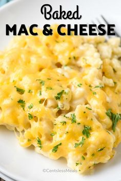 Baked Macaroni & Cheese with a secret ingredient! - CentsLess Meals Easy Baked Macaroni And Cheese Recipe, Homemade Macaroni Cheese, Homemade Cheese Sauce, Easy Dinner Recipes, Easy Meals, Chicken Pasta Bake, Casserole Dishes, Cooking Recipes, Ethnic Recipes