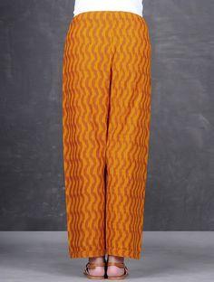 Buy Ochre Rust Tie Up Waist Ikat Cotton Pants by Jaypore Women The Classic Closet mul kurtas and crinkled dupattas Online at Jaypore.com