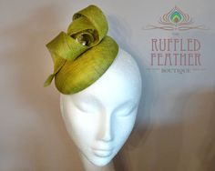 Lime green chartreuse sinamay pillbox by TheRuffledFeatherBou