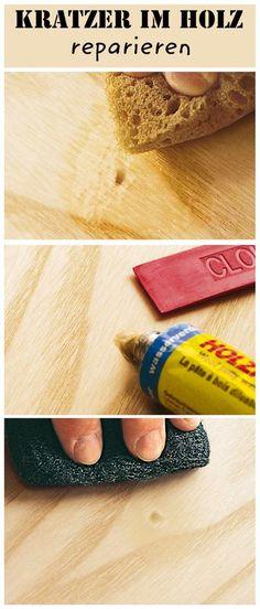 Kratzer, Löcher oder Vertiefungen im Holz kann man selbst schnell reparieren – mit Holzpaste im passenden Farbton.