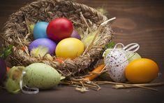 Download imagens Páscoa, ninho, ovos de páscoa coloridos, decoração de páscoa, férias de primavera