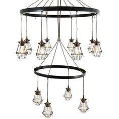 This contemporary chandelier is perfect for rustic style restaurants and vintage chic kitchens and dining rooms. Buy Chandelier, Chandelier Lighting Fixtures, Industrial Chandelier, Contemporary Chandelier, Pendant Light Fixtures, Contemporary Decor, Elegant Chandeliers, Large Chandeliers, Cage Light