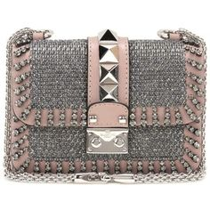 Valentino Lock Mini Embellished Leather Shoulder Bag