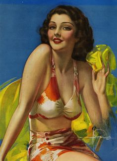 """""""Service with a Smile"""" by Rolf Armstrong 1938"""