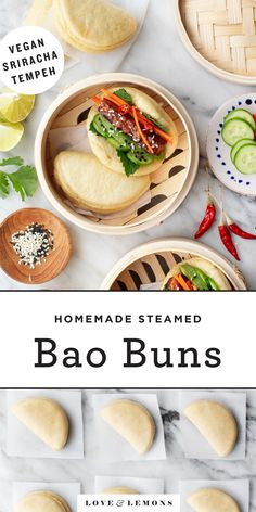 Steamed Bao Buns Recipe - Love and Lemons Steamed bao buns are SO delicious and fun to make! The ultimate date night cooking project, they're soft and puffy, with a flavorful tempeh and veggie filling. Steamed Bao Buns, Asia Food, Vegetarian Recipes, Healthy Recipes, Vegetarian Dish, Tofu Recipes, Vegan Meals, Cooker Recipes, Dinner Recipes
