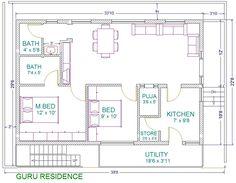 30x40 2 bedroom house plans | plans for east facing plot vastu plan seris c vastu plan 40 x30 east ...