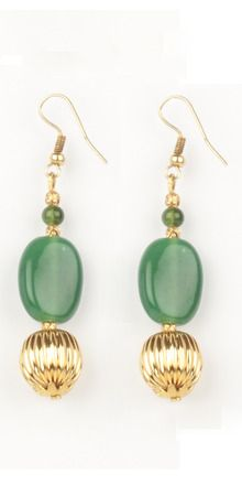 Green Glass Bead And Golden Bead Hook Earrings | Rs. 275 | http://voylla.com