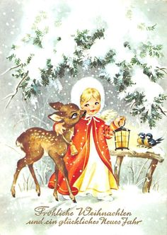 AK Merry Christmas Angel with Deer Lantern Fur Hat Winter Postcard Christmas Card Crafts, Christmas Deer, Retro Christmas, Christmas Greeting Cards, Christmas Angels, Christmas Greetings, Vintage Christmas Images, Christmas Pictures, Decoupage
