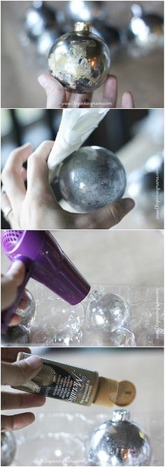 How to get a mercury glass finish - step by step tutorial. Very easy craft for Christmas!