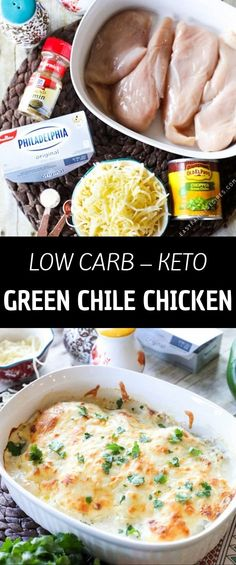 This Green Chile Chicken is the perfect easy and flavorful low carb meal. This Green Chile Chicken is the perfect easy and flavorful low carb meal. It is loaded with tender chicken, tangy green chiles, the perfec. Diet Dinner Recipes, Keto Dinner, Diet Recipes, Chicken Recipes, Healthy Recipes, Diet Tips, Diet Meals, Keto Chicken, Diet Foods