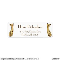 Shop Elegant Cat Lady Art Illustration Return Address Label created by EndlessPaws. Custom Return Address Labels, Address Label Template, Label Templates, Cat Lady, Customized Gifts, Cat Lovers, Illustration Art, Elegant, Fun