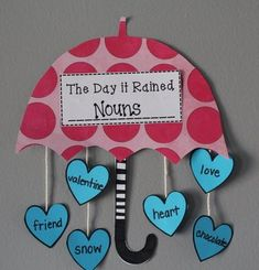 "would this not be so cute in your classroom! Rieman adorable craft to go with the book, ""The Day It Rained Hearts"". Valentines Day Activities, Spring Activities, Classroom Activities, Fun Activities, Grammar Activities, Teaching Language Arts, Teaching English, Speech And Language, Nouns And Verbs"