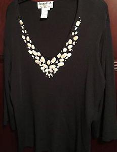 Women's Plus Size 1x Black Pullover Sweater Beige Stones Nice Work or Dressy | eBay