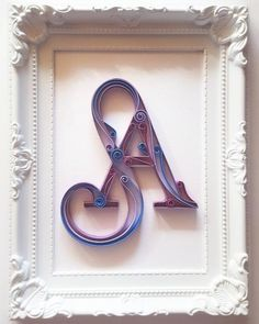 Handmade Quilling Paper Art with Monogram. The art is made with paper strips. Dimensions of the picture: x The piece is with white frame. Please let me know through ETSY Conversation if you have any questions! more wall art: 3d Paper Art, Quilled Paper Art, Paper Artwork, Paper Quilling, Paper Crafts, Diy Crafts, Love Images With Name, Love Heart Images, Cute Love Images