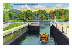 Sebago Lake, Maine - View of a Motorboat Leaving Songo Lock, c.1949 Art Print