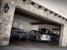 Stone luxury garage with Ferrari & Merc. My garage one day Garage Design, House Design, Dream Cars, Garage Pictures, Underground Garage, Ultimate Garage, Dream Car Garage, Luxury Garage, Luxury Office