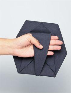 Geometric Fashion - origami clutch bag with folded hexagonal structure // Cosmic Wonder