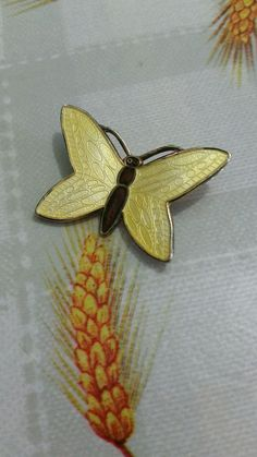 Norway Sterling Yellow Enamel Butterfly Pin