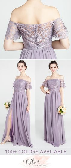 off the shoulder lace and chiffon purple bridesmaid dresses TBQP402