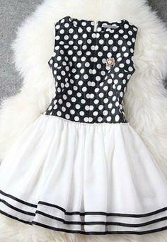 Contrast Color Polka Dots Stripes Slinky Beaded Tank Skater Dress