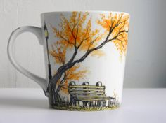 Mug Hand painted Rendezvous by Artisvast on Etsy, $20.00