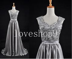 2014Custom Gray Chiffon  Beads Prom Dress Evening Party Homecoming Bridesmaid Cocktail Formal Dress New Arrival Lovely Bridesmaid Dress