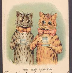 SCARCE-LOUIS-WAIN-GOSSIPING-CATS-ENJOY-TEA-AND-SCANDAL-FAULKNER-POSTCARD