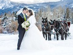 A winter wedding isn't complete without a horse-drawn sleigh exit through the snowy mountains. | Waldorf Astoria Park City