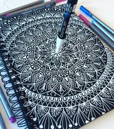 Finishhh ✅ And thank you so much everyone for your nice feedback on my latest video! Check it out if you haven't seen it 💜⭐️ . Henna Mandala, Mandala Drawing, Mandala Painting, Drawing Drawing, Zen Doodle, Doodle Art, Dibujos Zentangle Art, Zentangles, Sketch Style